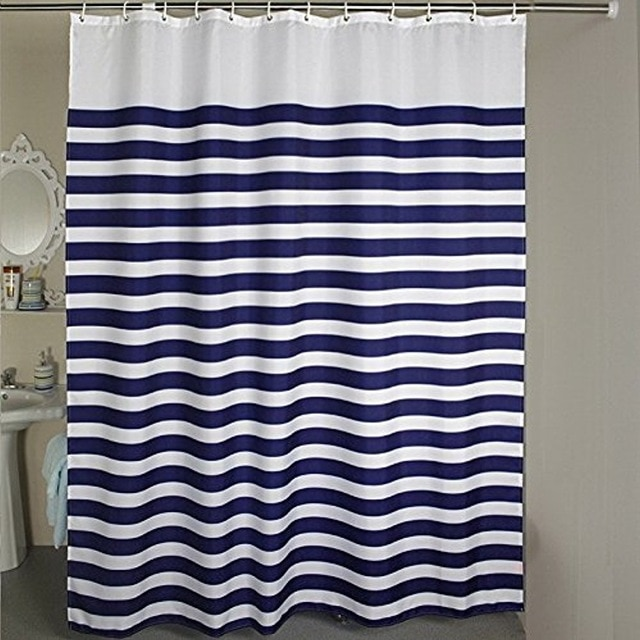 Memory Home Nautical Striped Shower Curtain Set Horizontal Striped