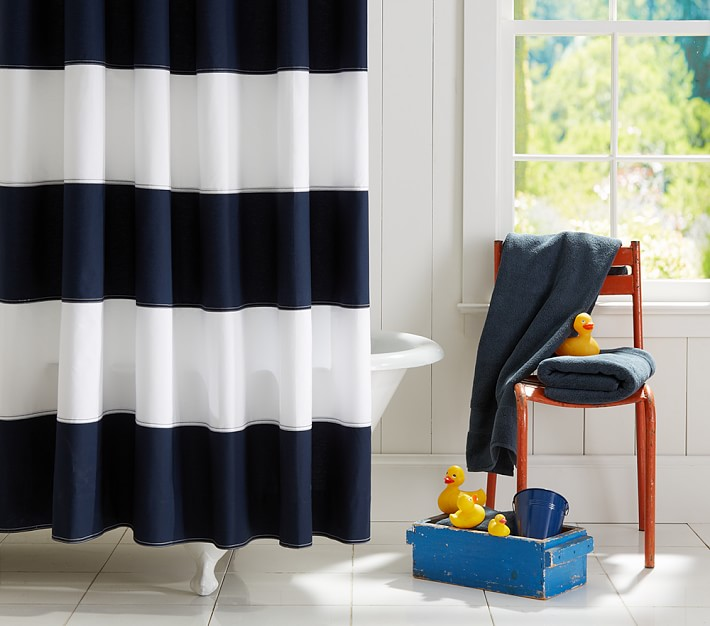 Rugby Shower Curtain | Pottery Barn Kids