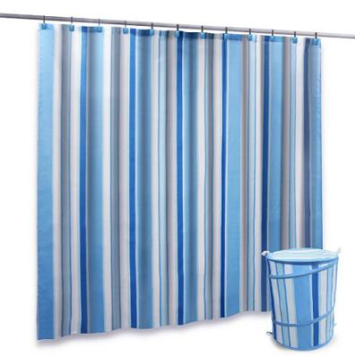 Blue and White Striped Shower Curtain - Home Interior Design Themes