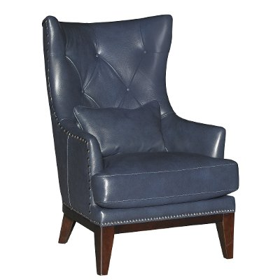 Cobalt Blue Leather-Match Accent Chair and Ottoman - Brewster | RC