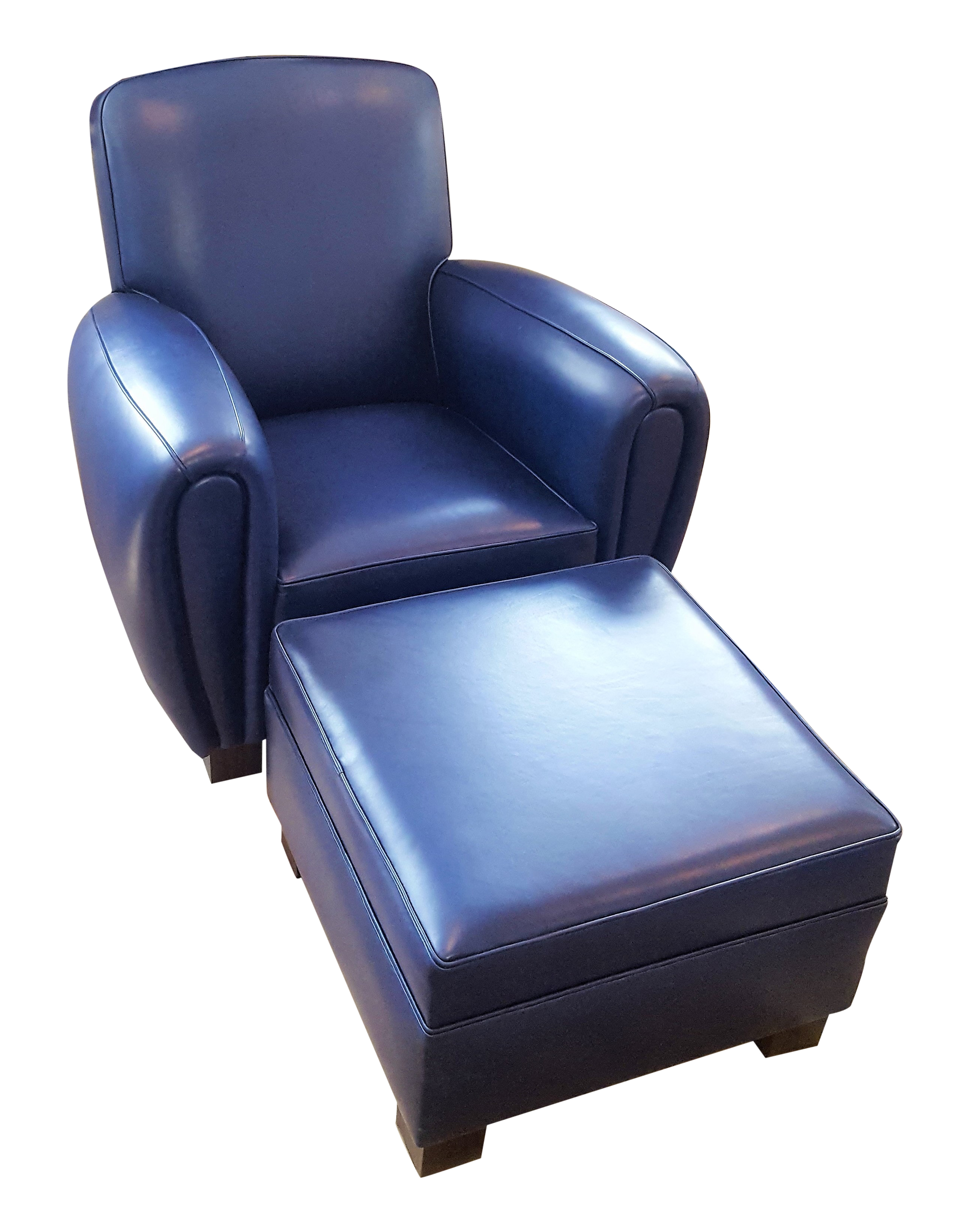 Navy Blue Leather Club Chair & Ottoman - Contemporary Traditional