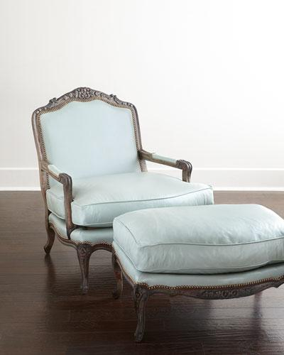 Bates Light Blue Leather Bergere Chair and Ottoman