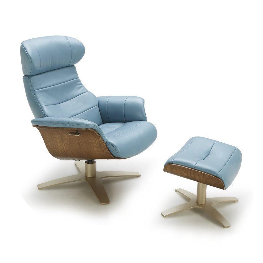 J&M Karma Contemporary Design Premium Blue Italian Leather Lounge