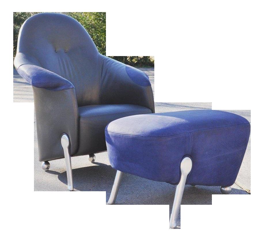 Early 21st Century Italian Lounge Leather Arm Chair & Ottoman | Chairish