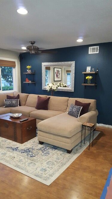 Blue paint color Seaworthy by Sherwin Williams. Perfect for living