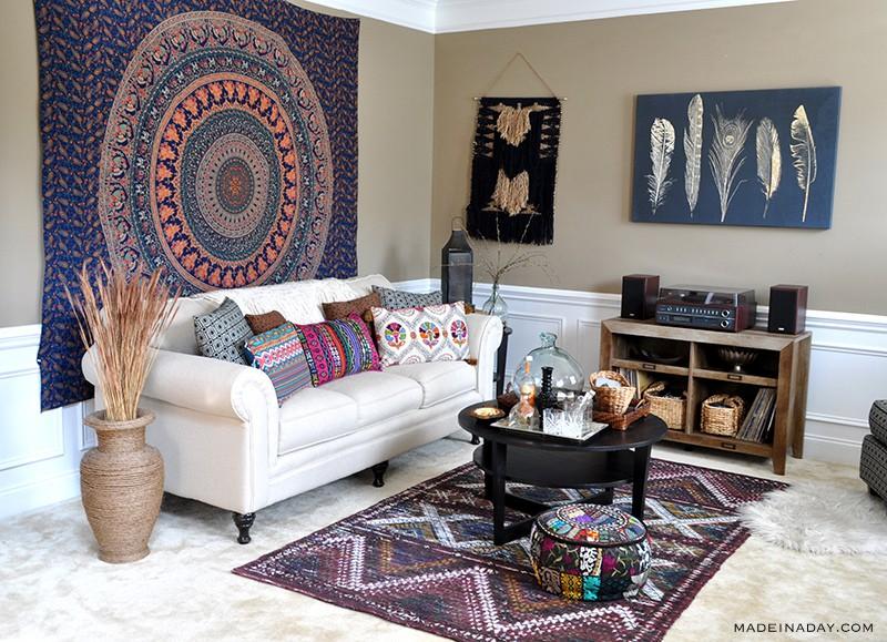 Boho Living Room Makeover: Pop of Color with World Market u2022 Made in