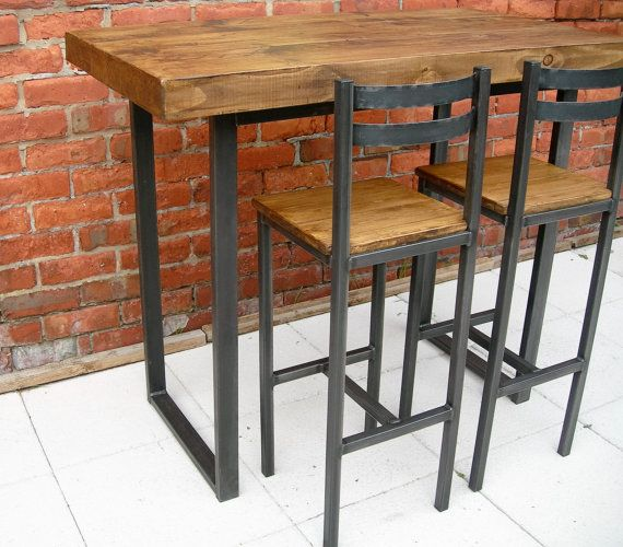 Breakfast Bar Table Bar Stools Rustic By Metal Kitchen Table And Chairs