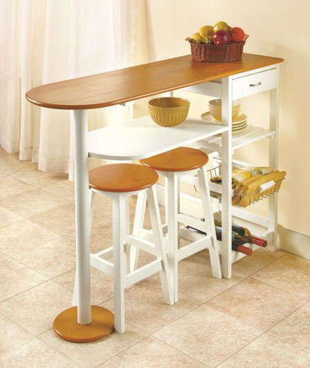 Breakfast Bar w/2 Stools Set Table Nook Dining Wood Space Saver