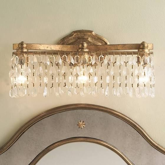 champagne bronze light fixture | Bathroom Ideas | Crystal bathroom