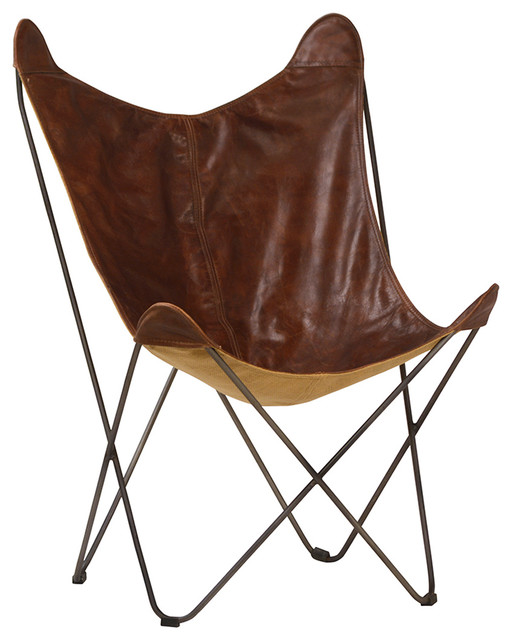 Brown Leather Butterfly Chair - Midcentury - Armchairs And Accent