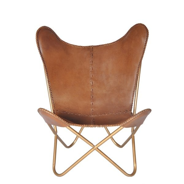 Shop Carbon Loft Larkin Chestnut Leather Butterfly Chair - On Sale