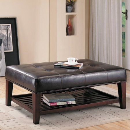 Coaster Contemporary Faux Leather Tufted Ottoman with Storage Shelf