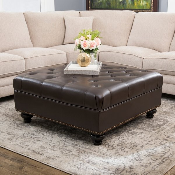 Shop Abbyson Frankfurt Tufted Brown Leather Ottoman - On Sale - Free
