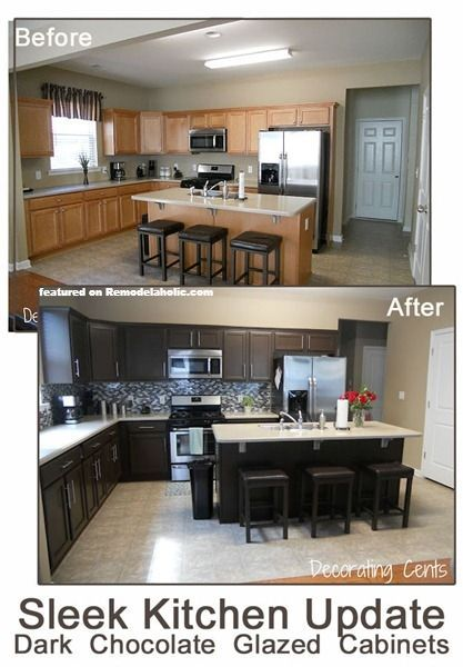 Before and After Chocolate Brown Kitchen using Rustoleum featured on
