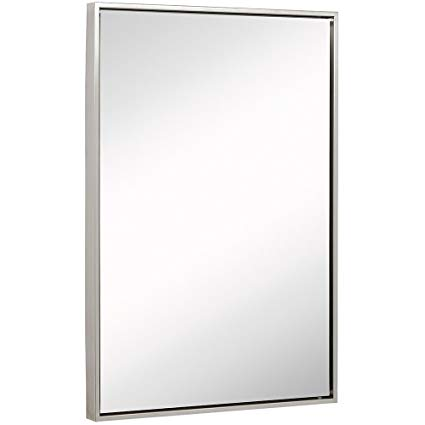Amazon.com: Clean Large Modern Brushed Nickel Frame Wall Mirror