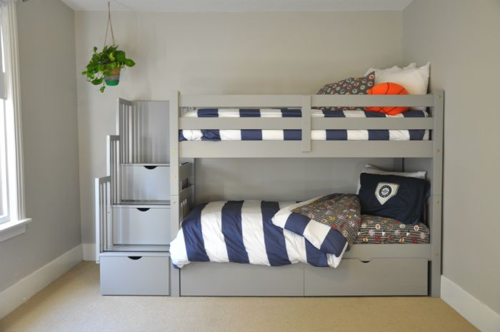 Gray Bunk Beds with Stairs, Storage Drawers, and Under Bed Storage