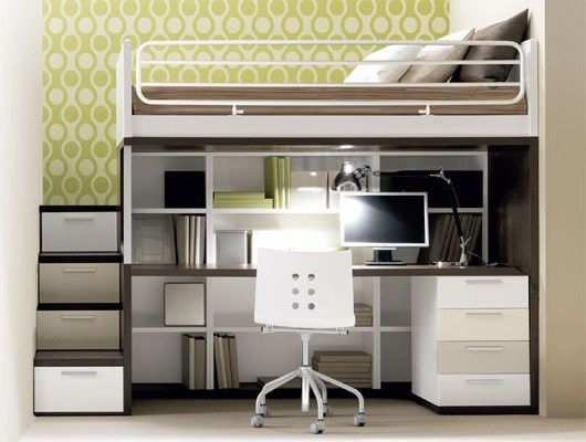 Full loft bed with desk and stairs - Desk : Interior Design Ideas
