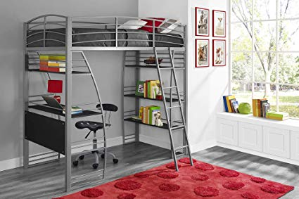 Amazon.com: DHP Studio Loft Bunk Bed Over Desk and Bookcase with