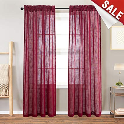 Amazon.com: Linen Look Burgundy Sheer Curtains for Living Room Rod