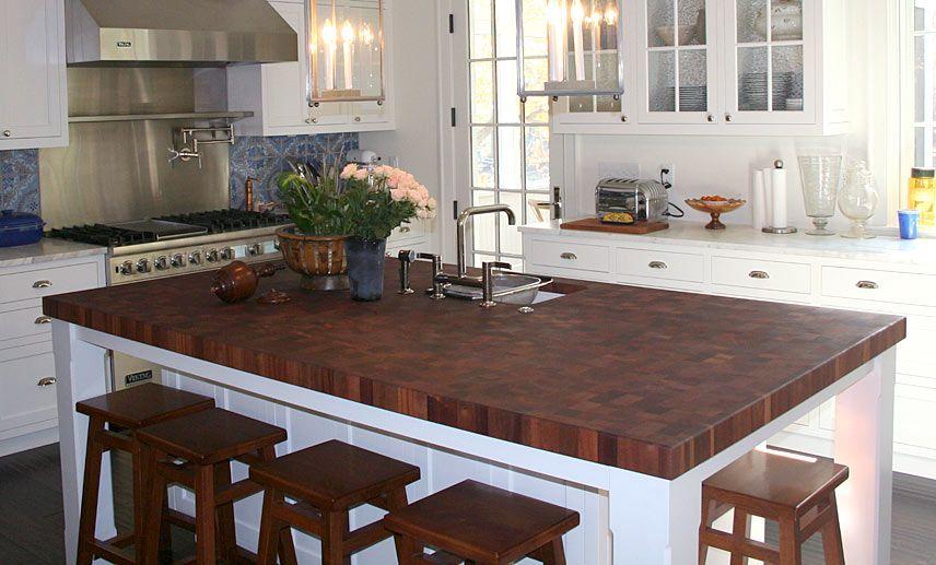 Sapele Mahogany Butcher Block Island Countertop for a kitchen island