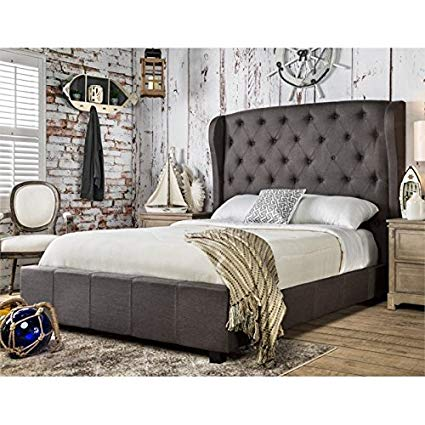 Amazon.com - Furniture of America Callista Flax Fabric Bed with
