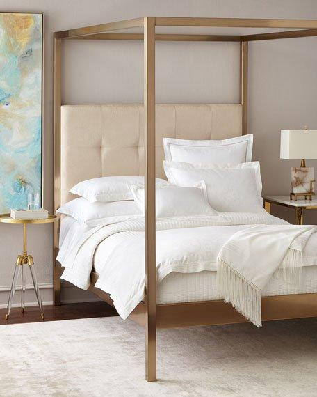 Metal Frame Cream Linen Headboard Canopy Bed