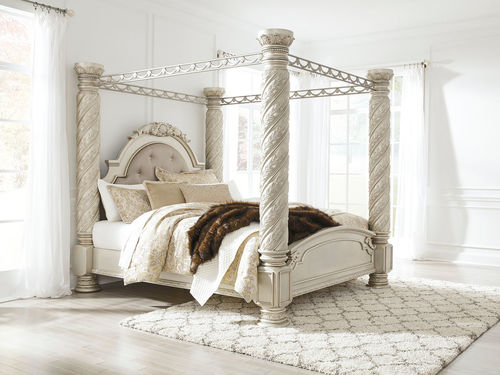 Ashley Cassimore Pearl Silver King Upholstered Poster Canopy Bed on
