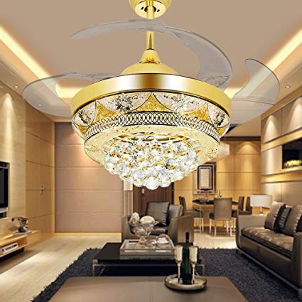 COLORLED Modern Crystal Gold Ceiling Fan Light Kit for Living Room