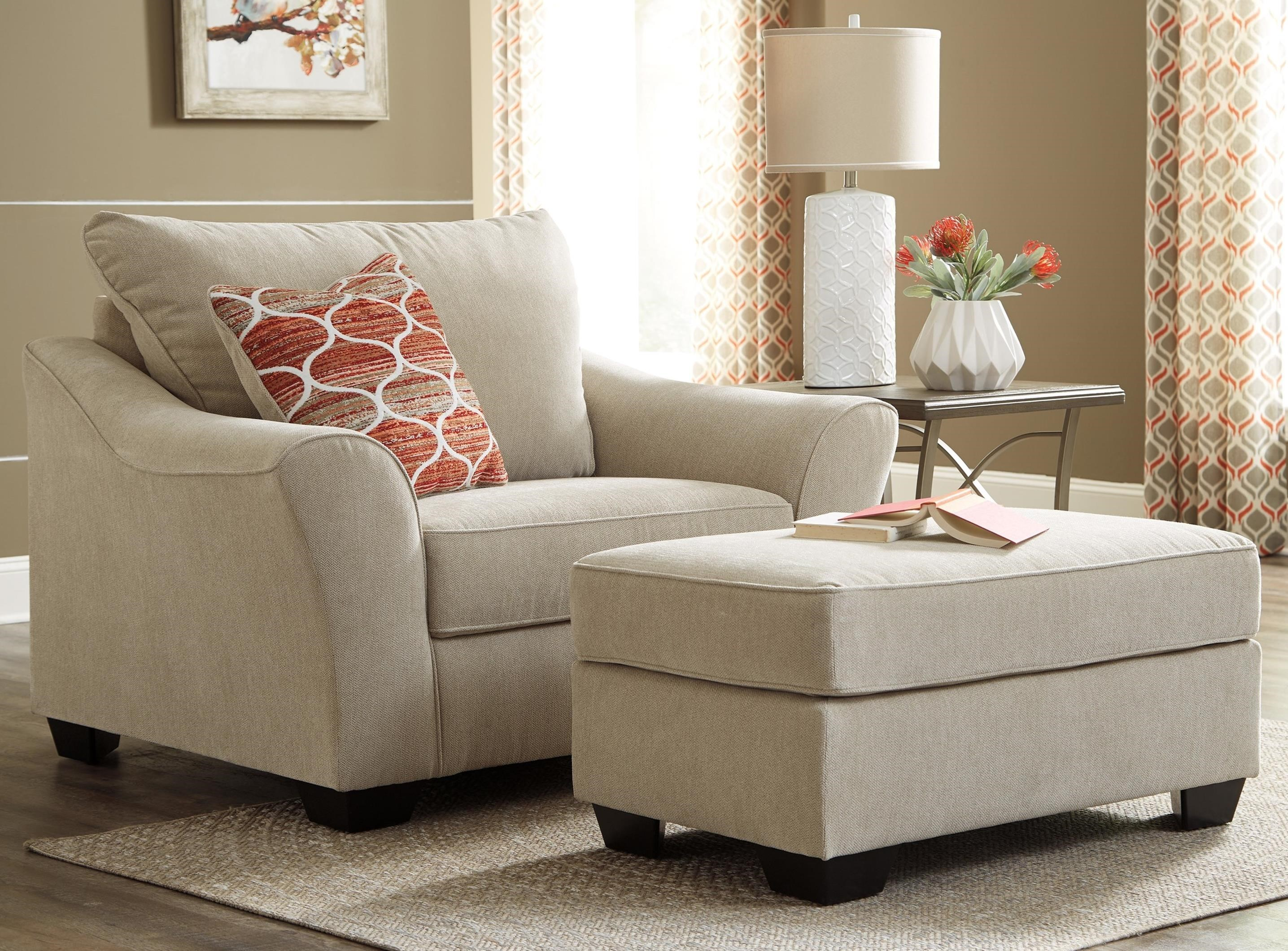 Benchcraft Lisle Nuvella Chair and a Half & Ottoman in Performance