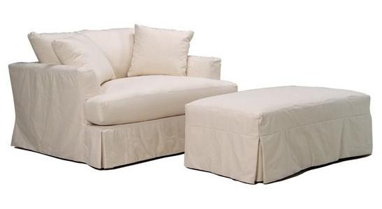 McCreary Modern 0778 Slipcover Chair and a Half and Ottoman Set with
