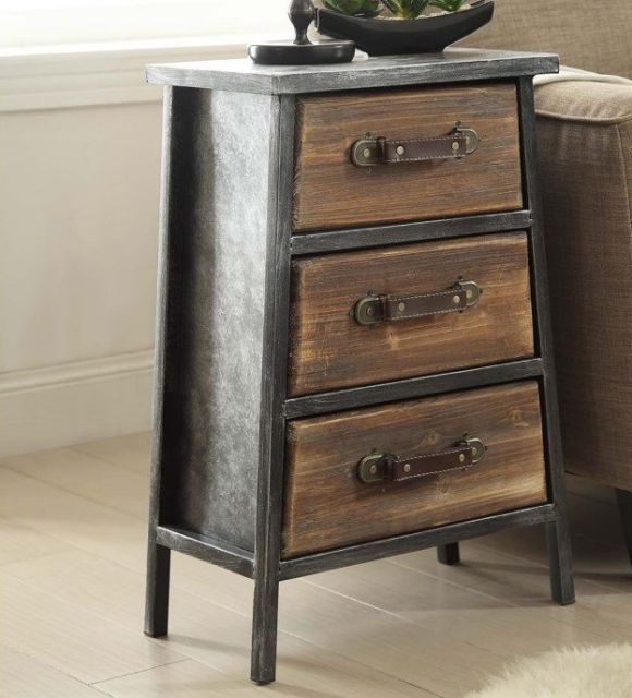 Industrial End Table Rustic Nightstand Accent Side Tables Drawers