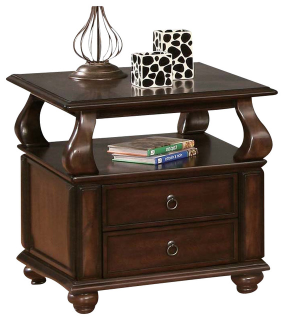 Walnut Finish 2-Drawer Accent End Side Table With Upper Shelf Bun