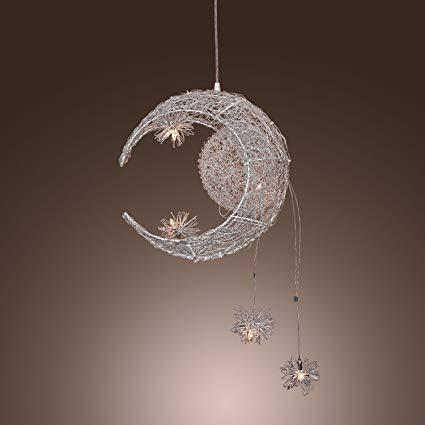 Amazon.com: Aluminum Moon & Star Kid's Bedroom Ceiling Pendant Lamp