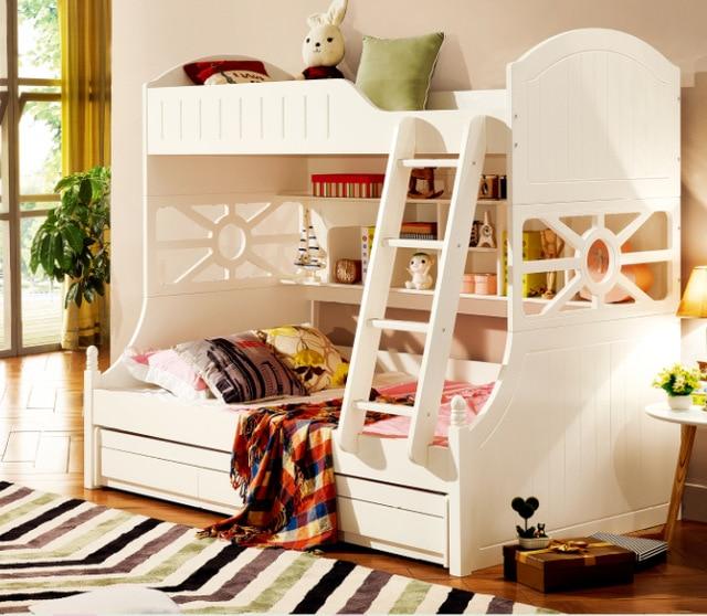 White children bedroom furniture kids double deck bunk bed-in