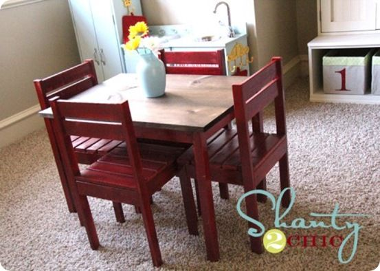 Children's Play Table and Chairs | Wood Work and Upholstery | Kids