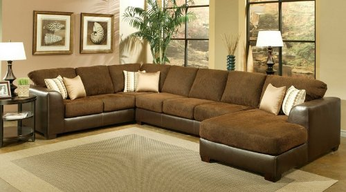 Sectional Sofa Couch Chaise with Chocolate Cushion Seat and Back