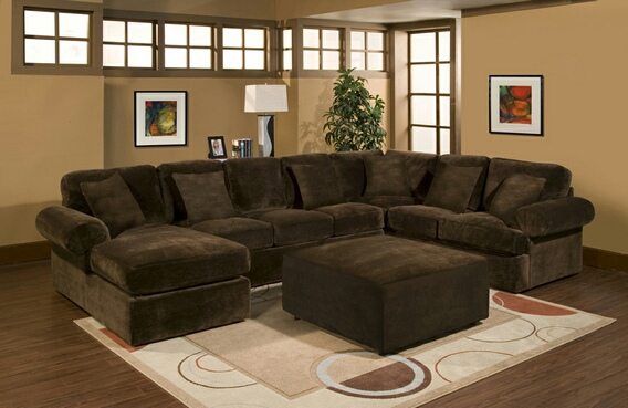 3 pc Bradley sectional sofa with chocolate plush velour microfiber
