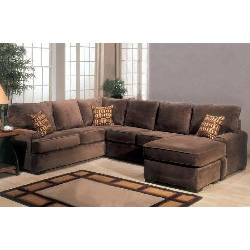 Amazon.com: Sectional Sofa Couch Chaise with Block Feet in Chocolate