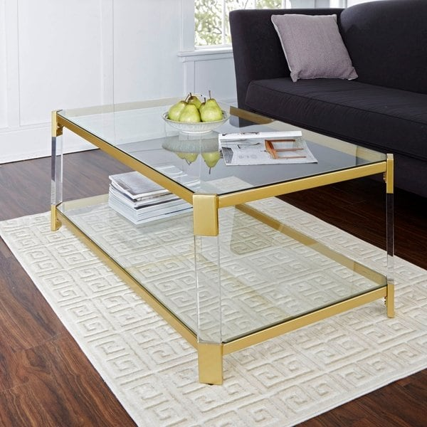 Shop Huxley Acrylic and Gold with Glass Top Coffee Table - Free
