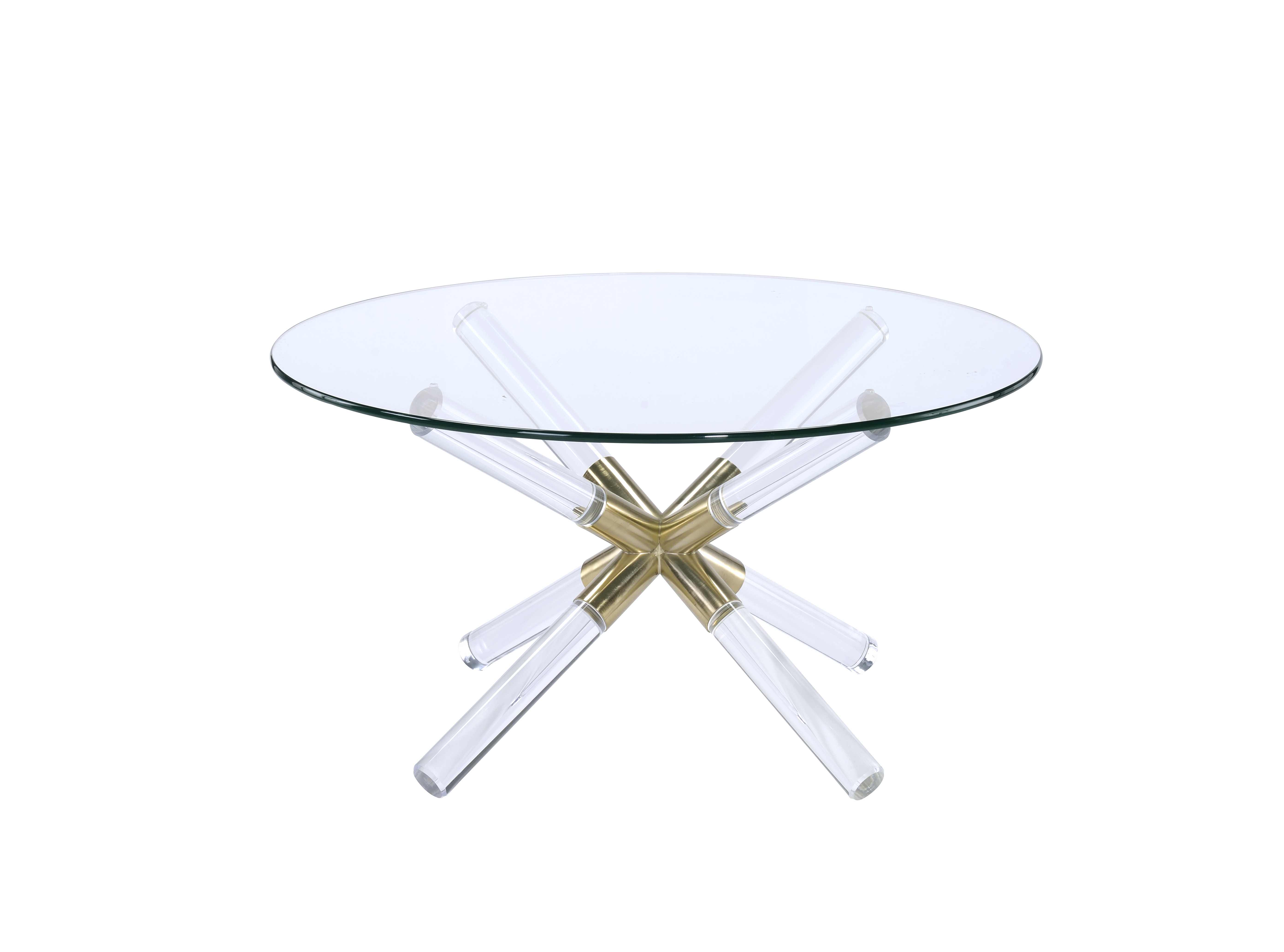 ACME Kalani Coffee Table in Gold, Clear Acrylic and Clear Glass
