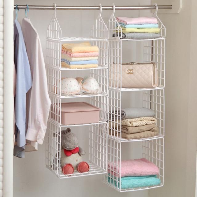 Folding Wardrobe Clothes Storage Rack Plastic Suspended Clothing