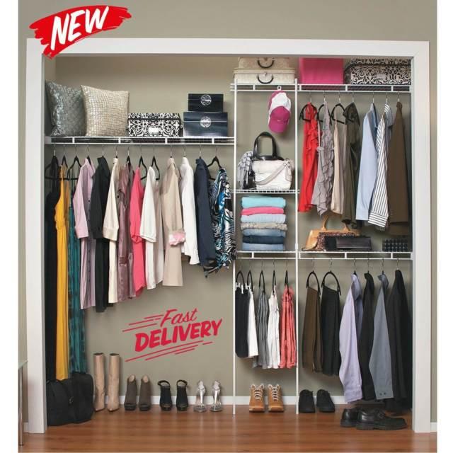Closet Organizer Shelves System Kit Shelf Rack Clothes Storage