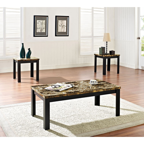 Acme 3 Piece Finely Coffee and End Table Set, Dark Brown Faux Marble