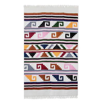 Handwoven Geometric Cotton Area Rug from Guatemala - Pacific