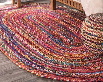 Colorful braided rug   Etsy