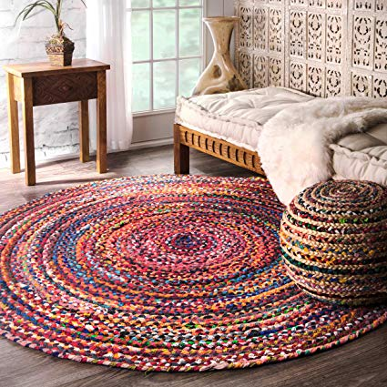 Amazon.com: nuLOOM Hand Braided Bohemian Colorful Cotton Round Rug