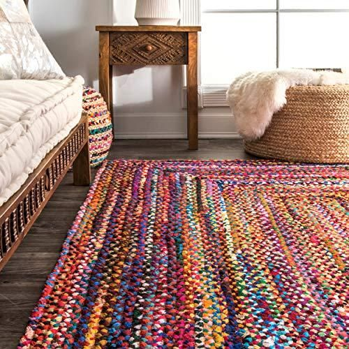 Hand Braided Bohemian Colorful Cotton Area Rug, Multi color