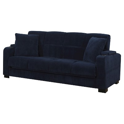 Susan Velvet Convert-a-Couch Storage Arm Futon Sofa Sleeper - Handy