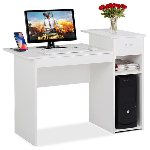 White Compact Computer Desk with Drawer and Shelf Small Spaces Home