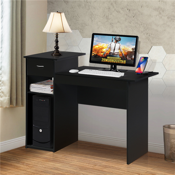 Yaheetech Small Spaces Home Office Black Computer Desk with Drawers